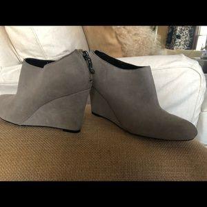 Gray suede LOFT wedge heel bootie